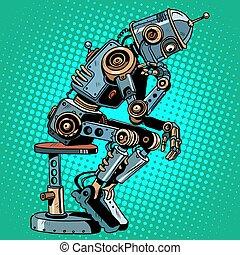 denker, roboter, intelligenz, fortschritt, künstlich