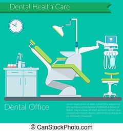 Dentist Büro Flat Design Vektor.