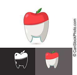Dentist Dental-Apfel-Symbol-Logo-Vektor.