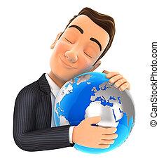 Der 3. Geschäftsmann umarmt die Erde.