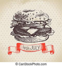 Der 4. Juli-Jahrgang. Independence Day of America Hand gezeichnet Zeichnung Design