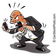 Der alte Geschäftsmann ist am Telefon wütend.