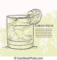 Der alte, modische Cocktail-Scetch.