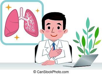 Der Arzt erklärt die Lunge