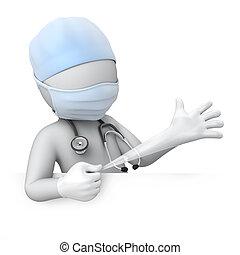 Der Arzt zieht einen Handschuh