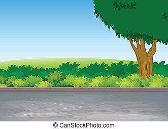 Der Baum neben der Straße