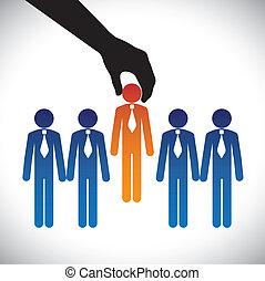 Der beste Kandidat für den Job. Die Grafik zeigt, dass das Unternehmen die Wahl einer Person mit den richtigen Fähigkeiten für die Arbeit vieler Kandidaten trifft, die um den gleichen Posten konkurrieren