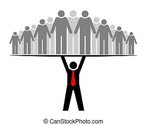 Der Boss unterstützt das ganze Team und alle. Team oder Community. Eine Gruppe von Leuten und ihrem Anführer oder Boss.