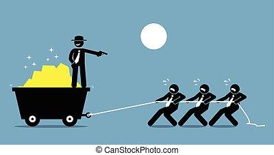Der Boss zwingt Angestellte und Arbeiter, hart zu arbeiten, indem er sie mit einer Waffe bedroht.