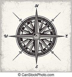 Der Compass ist schwarz und weiß.