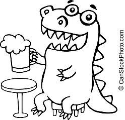 Der Drache sitzt mit einer Tasse Bier