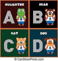 Der englische Buchstaben A, B, C, D