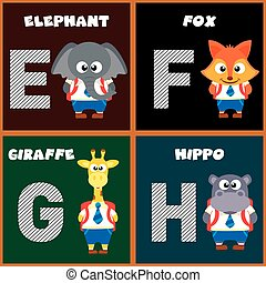 Der englische Buchstaben E, F, G, H
