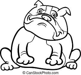 Der englische Bulldog-Zeichen-Zeichentrickfilm für das Malbuch