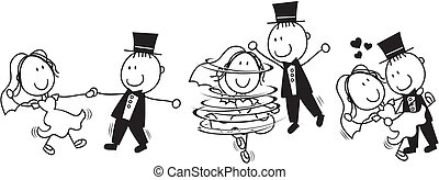 Der erste Tanz-Hochzeit- Cartoon