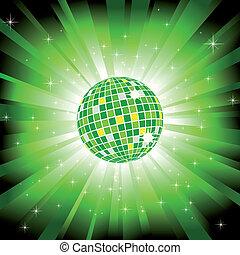 Der funkelnde Discoball auf grünem Licht ist geplatzt und glitzernde Sterne