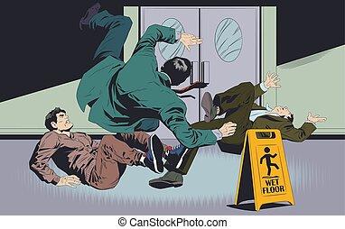 Der Geschäftsmann fällt auf den nassen Boden. Warnzeichen. Stock Illustration.