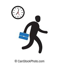 Der Geschäftsmann hat es eilig, pünktlich zu sein