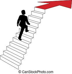 Der Geschäftsmann steigt die Pfeiltreppe hoch