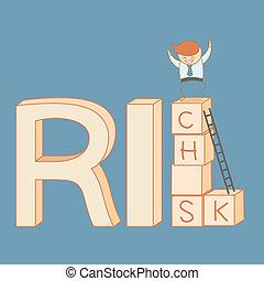 Der Geschäftsmann steigt vom Risiko auf den Reichtum