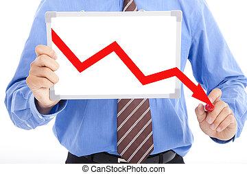 Der Geschäftsmann zeichnet rot auf dem Whiteboard