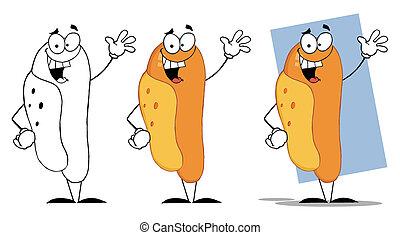 Der glückliche Hot Dog winkt mit dem Gruß