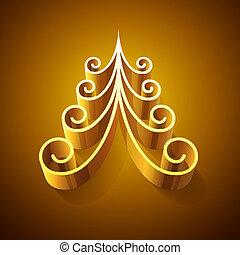 Der goldene 3D-Weihnachtsbaum