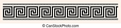 Der griechische Stil ist nahtlos. Schwarzes Muster auf einem beige-Hintergrund.