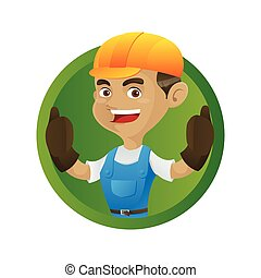 Der Handwerker gibt Daumen.