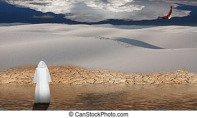 Der heilige Mann geht in der Wüste über Wasser