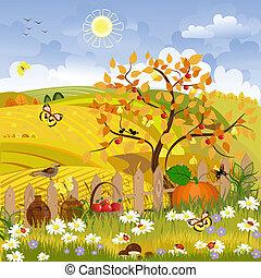 Der Herbstbaum der ländlichen Landschaft