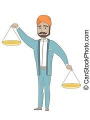 Der Hindu-Geschäftsmann hält die Waage.
