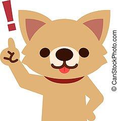 Der Hund zeigt den Finger