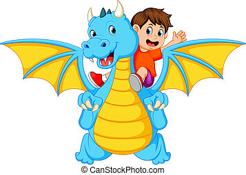 Der Junge, der mit dem großen blauen Drachen spielt, kann das Feuer erzeugen.