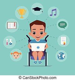 Der Junge im Rollstuhl studiert über das Internet.