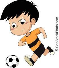 Der Junge läuft mit dem Ball