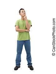 Der junge Mann denkt an ein Problem