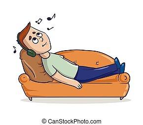 Der junge Mann, der auf einer sandfarbenen Couch liegt, hört Musik in seinen Kopfhörern. Kartoon Charakter vektorgrafik. Isoliertes Bild auf weißem Hintergrund.