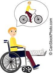 Der junge Mann im Rollstuhl mit gebrochenem Knochen träumt von Fahrradfahren.