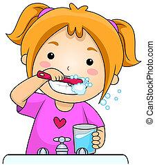 Der Junge putzt Zähne