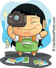 Der Kartoon von Mädchen liebt Fotografie