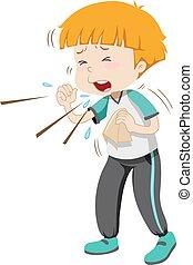 Der kleine Junge hat Grippe.