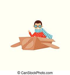 Der kleine lächelnde Junge spielt mit dem Flugzeug aus Pappkarton. Kinder träumen davon, Pilot zu werden. Rollenspiel. Flat Vektordesign