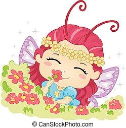 Der kleine Schmetterling riecht nach Blume.