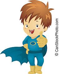 Der kleine Superheld macht ein OK-Schild