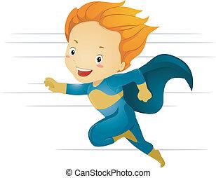 Der kleine Superheld rennt schnell