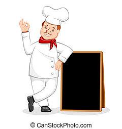 Der Koch posiert mit schwarzem Brett