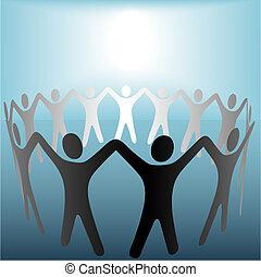 Der Kreis der Menschen hält Hände unter dem hellen Kopierraum auf Blau