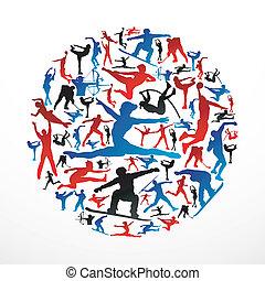 Der Kreis der Sportsilhouettes