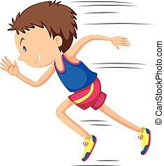 Der Läufer läuft in Rennen.
